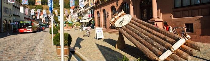 Floßmodell vor dem Wolfacher Rathaus
